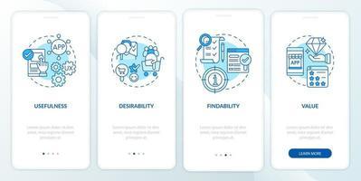 ux-Grundlagen Onboarding mobiler App-Seitenbildschirm vektor