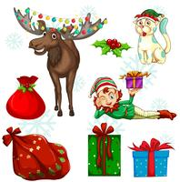 Juluppsättning med ren och presenter vektor