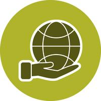 Erde an Hand Vektor Icon
