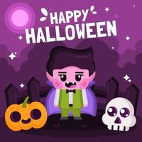 süßer Vampir, der Halloween feiert vektor