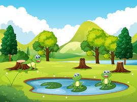 Parkplats med tre grodor i dammen