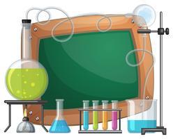 Bordsskiva med kemikalier i bägare