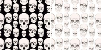 Nahtloses Hintergrunddesign mit den menschlichen Schädeln