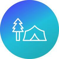 Zelt mit Baum-Vektor-Ikone