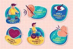 Aufkleberpaket zum internationalen Tag der Behinderung vektor