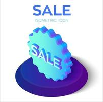 Verkauf-Tag. Sonderangebot Verkauf Tag isometrische 3D-Symbol. Rabattangebot Preisschild, Symbol für Werbekampagne. Sunburst-Label-Aufkleber. perfekt für Webdesign und Banner. Vektor-Illustration. vektor