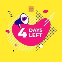 Verkauf Countdown flüssige abstrakte Elemente vier Tage links Zeichenvektorillustration vektor
