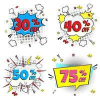 Comic-Schriftzug 30, 40, 50, 75 Rabatt im Sprechblasen-Comic-Stil flaches Design. dynamische Retro-Vintage-Pop-Art-Illustration auf Hintergrund isoliert. Ausruf 30, 40, 50, 75 Prozent Rabatt. vektor