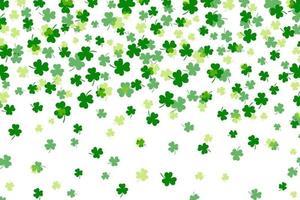 Kleeblatt oder grüner Klee verlässt die flache Designvektorillustration des Musterhintergrundes lokalisiert auf weißem Hintergrund. St Patricks Day Kleeblatt Symbole dekorative Elemente Muster. vektor