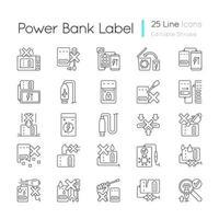Powerbank-Nutzung lineare manuelle Etikettensymbole eingestellt vektor