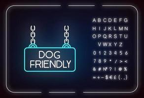 Neonlichtsymbol für hundefreundliches Territorium vektor