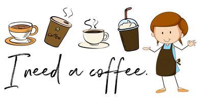 Olika typer av kaffe och fras Jag behöver kaffe vektor