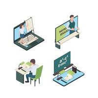 Homeschool-Kinderstudenten zu Hause Isolation lernen online vektor