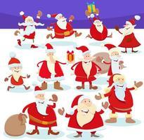 Weihnachtsmann-Zeichentrickfiguren in der Weihnachtszeit vektor