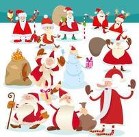 Comic-Weihnachtsmann-Figuren zur Weihnachtszeit vektor