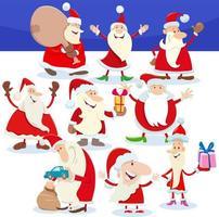 Weihnachtsmann-Charaktere auf Weihnachtszeitkarikaturillustration vektor