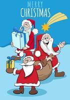 Design oder Karte mit Cartoon-Weihnachtsmann zur Weihnachtszeit vektor