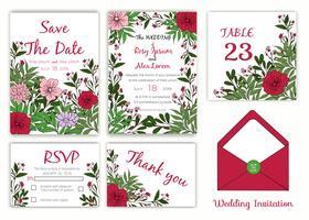 Hochzeitseinladung, Datum speichern, RSVP-Karte, Dankeschönkarte, Tabellennummer vektor