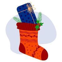Weihnachtssocke mit Geschenken. Vektor-Illustration vektor