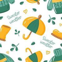 Herbst nahtlose Muster mit niedlichen bunten Pullover, Gummistiefel, Regenschirm, Blätter und Worte. Cartoon-Fallelemente für Stoff, Textil, Packpapier, Tapete. vektor