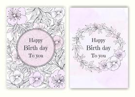 Blumenhand gezeichneter Rahmen für eine Geburtstageinladung