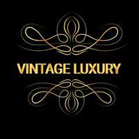 Guld dekorativa ram.Vintage logotyp mallar