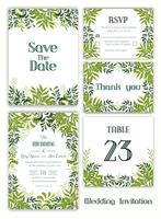 Bröllopinbjudan, spara datumet, RSVP-kort, tackkort vektor