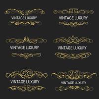 Guld dekorativ ram Vintage mallar vektor