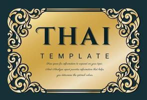 dekorativer thailändischer traditioneller kunstrahmen für einladungen vektor