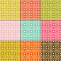 weiße ineinandergreifende Kreismuster auf Retro-Farbhintergründen