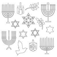 svart kontur Hanukkah digitala frimärken vektor