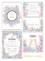 Hochzeitseinladung, Datum speichern, RSVP-Karte, Dankeschönkarte vektor
