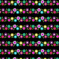 mod Blumenstreifen auf schwarzem Hintergrund