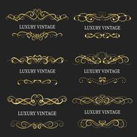 Gold dekorativer Rahmen. Vintage Logo-Vorlagen vektor