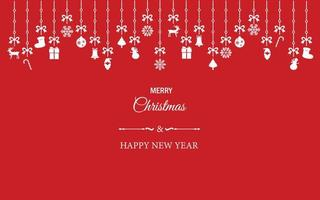 Satz Weihnachtsverzierungselemente, die am roten Tapetenhintergrund hängen. Vector Illustration für Weihnachten, guten Rutsch ins Neue Jahr und Wintersaisondekoration.