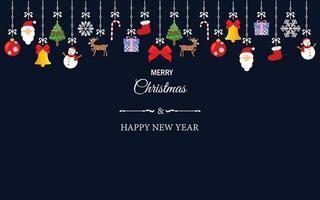 Satz Weihnachtsverzierungselemente, die am Tapetenhintergrund hängen. Vector Illustration für Weihnachten, guten Rutsch ins Neue Jahr und Wintersaisondekoration.