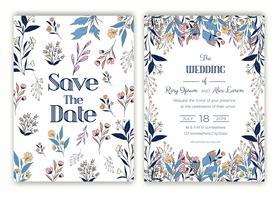 Blommor handgjorda ram för en bröllopsinbjudan