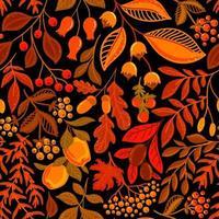 schwarzer nahtloser Vektorhintergrund mit hellen Herbstbeeren und -nüssen vektor