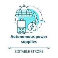 Autonome Stromversorgungen türkisfarbenes Konzeptsymbol vektor