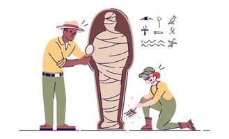 Archäologen erforschen die flache Vektorgrafik der Mumie vektor