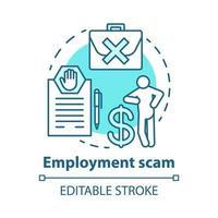 Symbol für das Konzept des Beschäftigungsbetrugs vektor