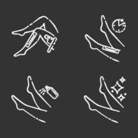 Beige Kreide Icons Set Wachsen der Beine vektor