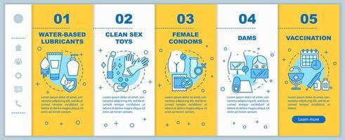 Safer Sex Onboarding mobile Webseiten Vektorvorlage vektor