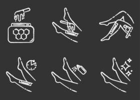 Shin Waxing Kreide Icons Set vektor