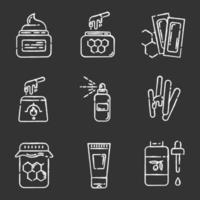 Wachsausrüstung Kreide Icons Set vektor