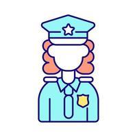 Polizistin RGB-Farbsymbol vektor