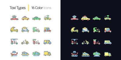 Taxitypen helles und dunkles Thema RGB-Farbsymbole eingestellt vektor