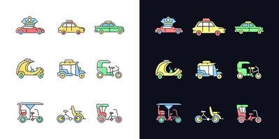 Taxi-Typen helles und dunkles Thema RGB-Farbsymbole eingestellt vektor