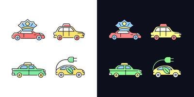 Taxibuchung helles und dunkles Thema RGB-Farbsymbole eingestellt vektor