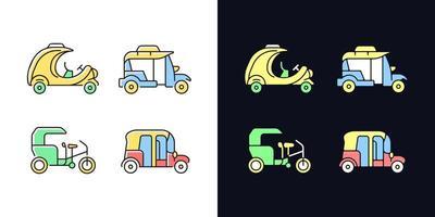 Transport von Passagieren Business Light und Dark Theme RGB-Farbsymbole Set vektor